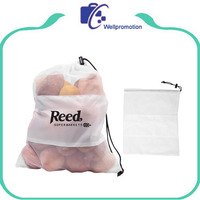 Eco-friendly reusable cotton mesh produce drawcord vegetable fruit bag