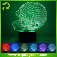 Football Helmet Colorful Sport Patterns Acrylic Visual Table Lamp Bar Art Decor USB 3D LED Desk Night Light for bedroom