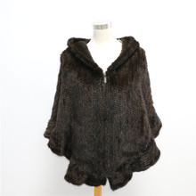 Fashion Natural Knitted Mink Fur Shawl With Hat