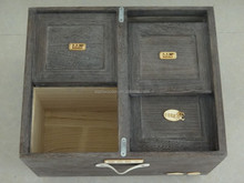 big wooden box with four compartments for grain and rice