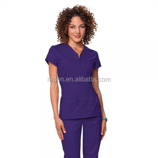 new arrive 40% polyester 60 % cotton twill Women's Perforated Side Panel grape Scrub Top