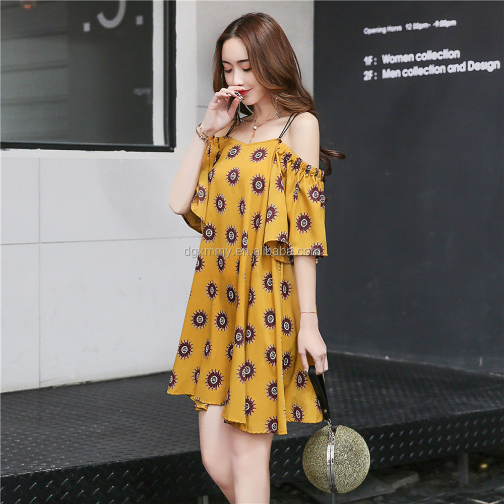 Casual Dresses New Hot Sale Women Fashion Holiday Wear Printed Cute Sweet Ladies Off Shoulder Strapless Yellow Chiffon Dress