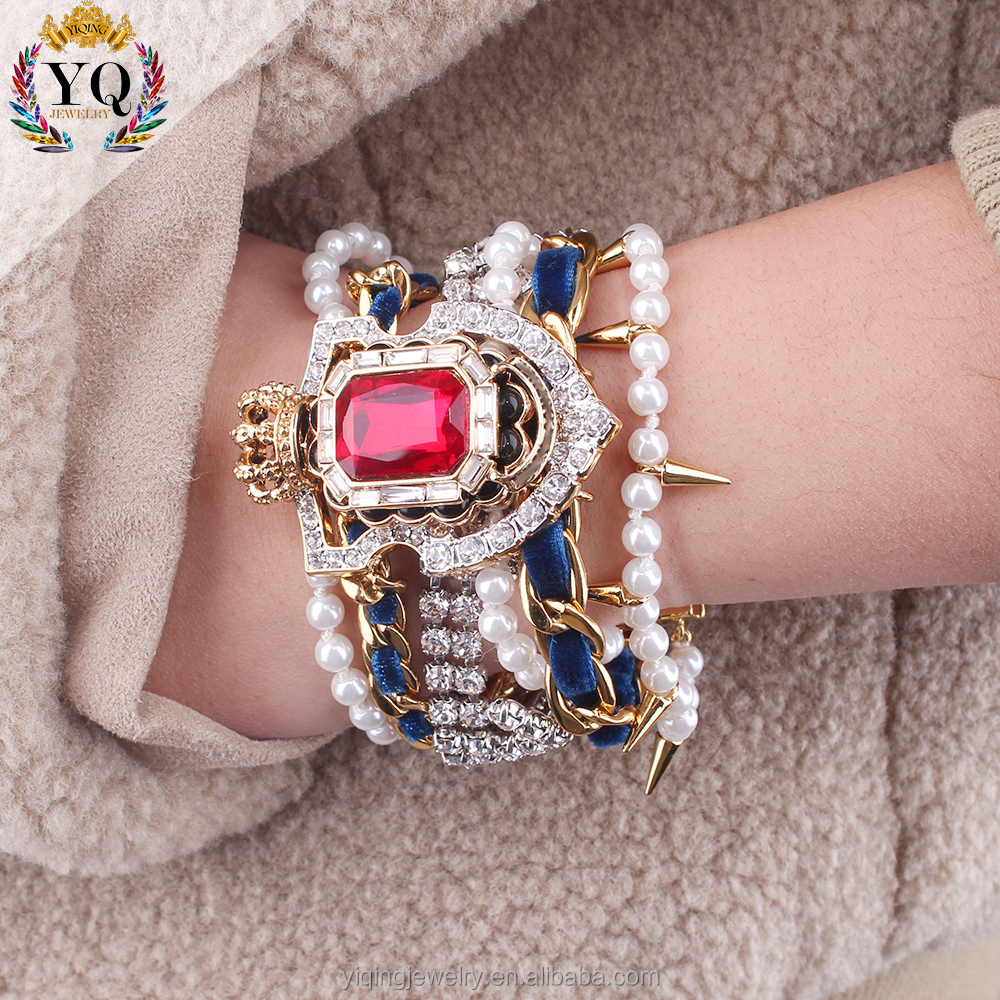 BYQ-00536 factory multilayer bracelet artificial ruby diamond wrap pearl bracelet beaded bracelet with magnetic clasp imitiation