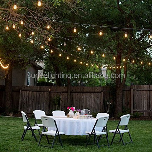 Outdoor String Lights withh Hanging sockets, Weatherproof Commercial Quality Festoon Garden Lights 48 Feet Long