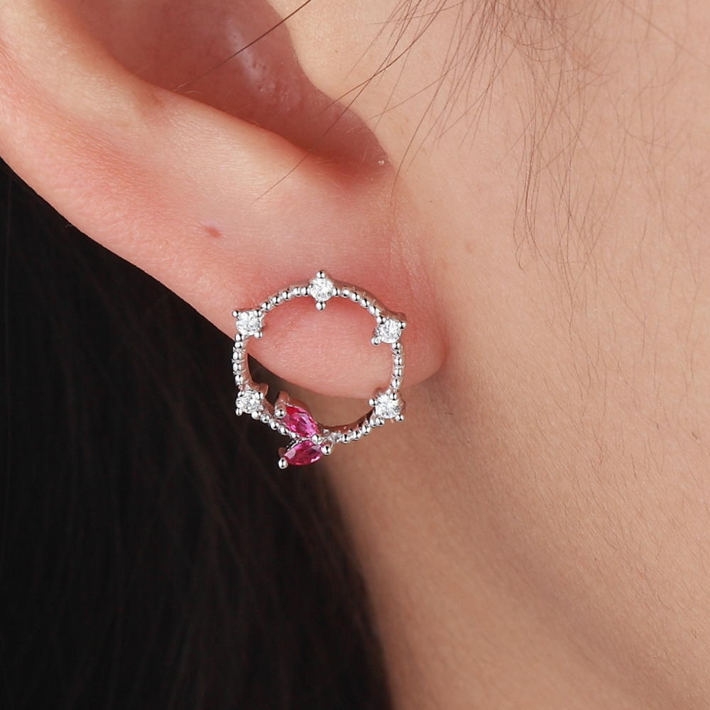 925 Silver Jewelry Zircon Round Shaped Hanging Stud Earrings