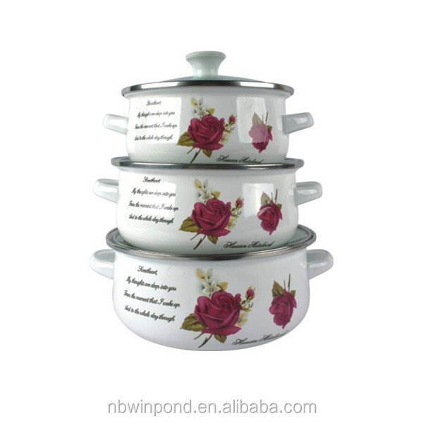 6pcs enamelware casserole set with glass lid and metal handle
