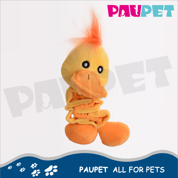 High Quality fashion tinkle crinkle rattle plush yellow duck pet toy