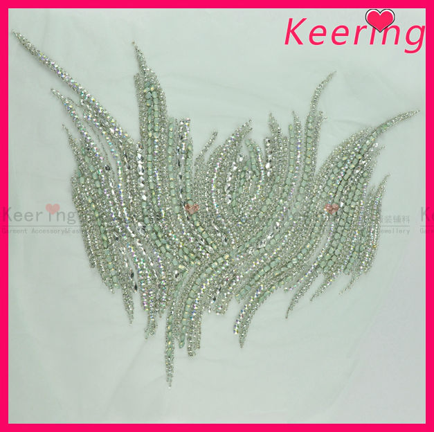 wholesale crystal rhinestone applique trimming bridal applique work embroidery for wedding dress WRA-479