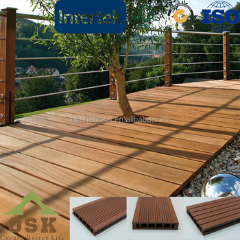 Outdoor waterproof anti slip durable hollow wpc decking for Garden decking non slip