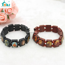 Wholesale Cheap Saint Picture Wood Bead Rosary Bracelet