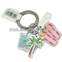 Promotional leather keyring with chain and charms