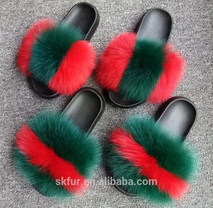Summer hot sale custom shoes wholesale soft real fox fur slides sandals slippers for women