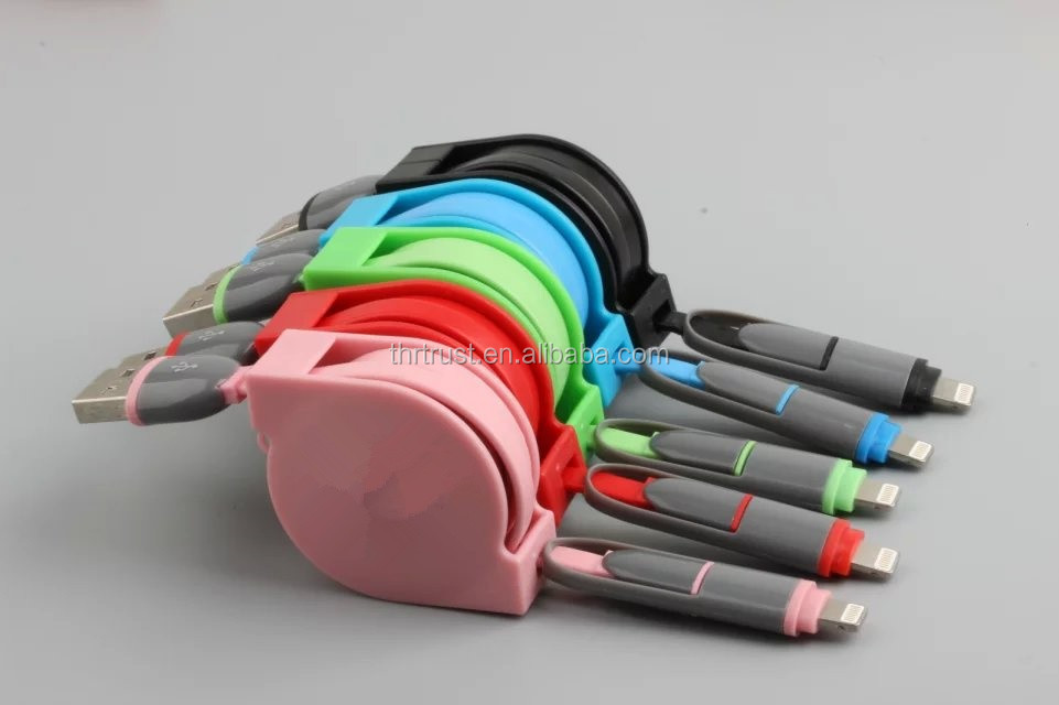 2016 New Fashion Design Colored Micro Usb Cable Mobile Phone Charger 2 In 1 USB Cable