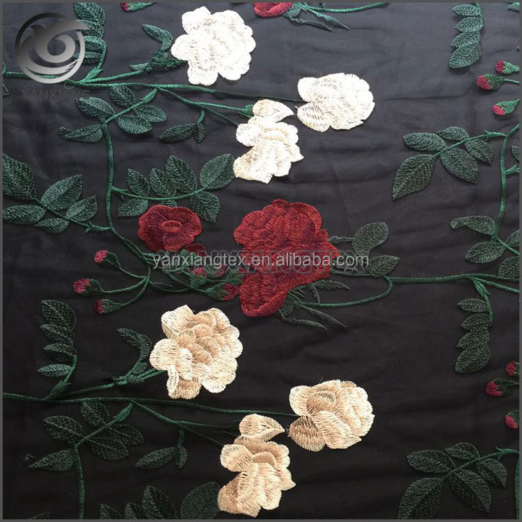 China Shaoxing Peony Flowers Tulips Embroidery Cloth Fabric