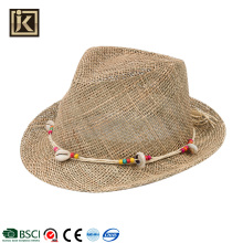 JAKIJAYI chinese supplier summer men fedora dress handmade crochet seagrass hat