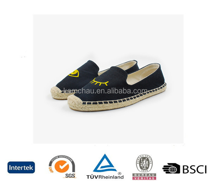 china wholesale beautiful design jute sole women black embroidery espadrille with heel