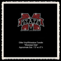Aprise - Mississippi State University Iron on Glitter Rhinestone Transfer no t shirt