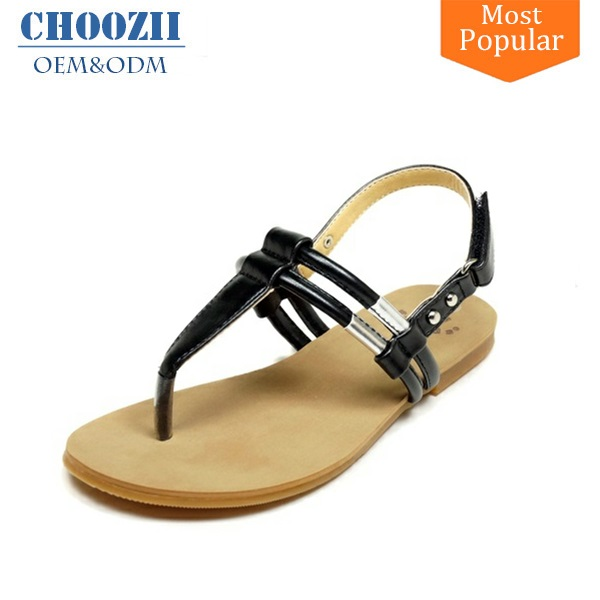 2017 Black T-strap Sex Girl Indian Sex Photo Flat Summer Sandals