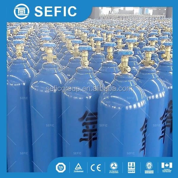 50L 2900psi DOT 3AA high pressure seamless steel oxygen argon co2 gas cylinder