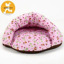 Hoopet cute pink soft camp bed for dog with small flowers