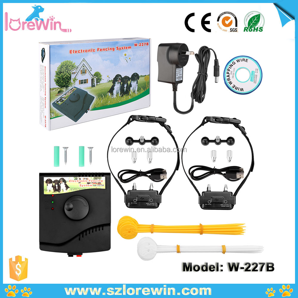 LoreWin Pet trainer Underground Electric Fence Pet dog Shock Collar waterproof and rechargeable Invisible Dog Fencing W-227B