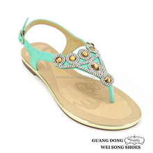 best sell green beautiful flat sandals for ladies ,high quality women shoes sandals