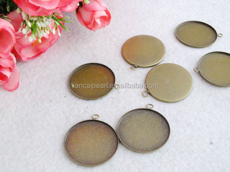 QM-799 Free Shipping 25mm Round Antique Bronze Cameo Cabochon Bezel Base Setting Pendants, Blank Pendant Trays,metal blanks