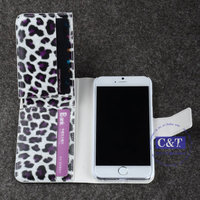 C&T Leopard Pattern Cellphone Protector PU Leather Case and Wallet Cover for Apple iPhone 6 4.7 inch