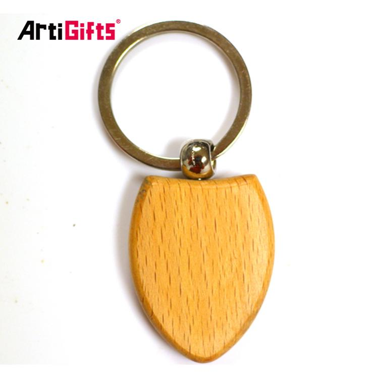 Handmade cheap high quality deft design custom heart shape wood keychain