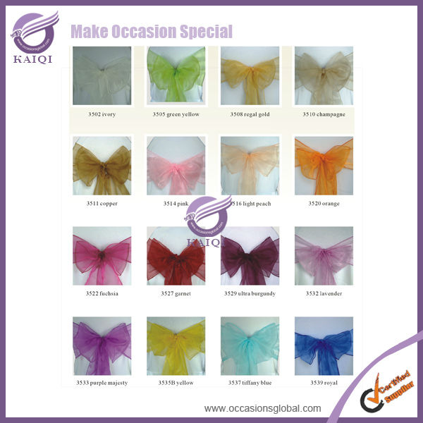 BS00162 Over 70colors wedding sparkle organza chair cover sashes