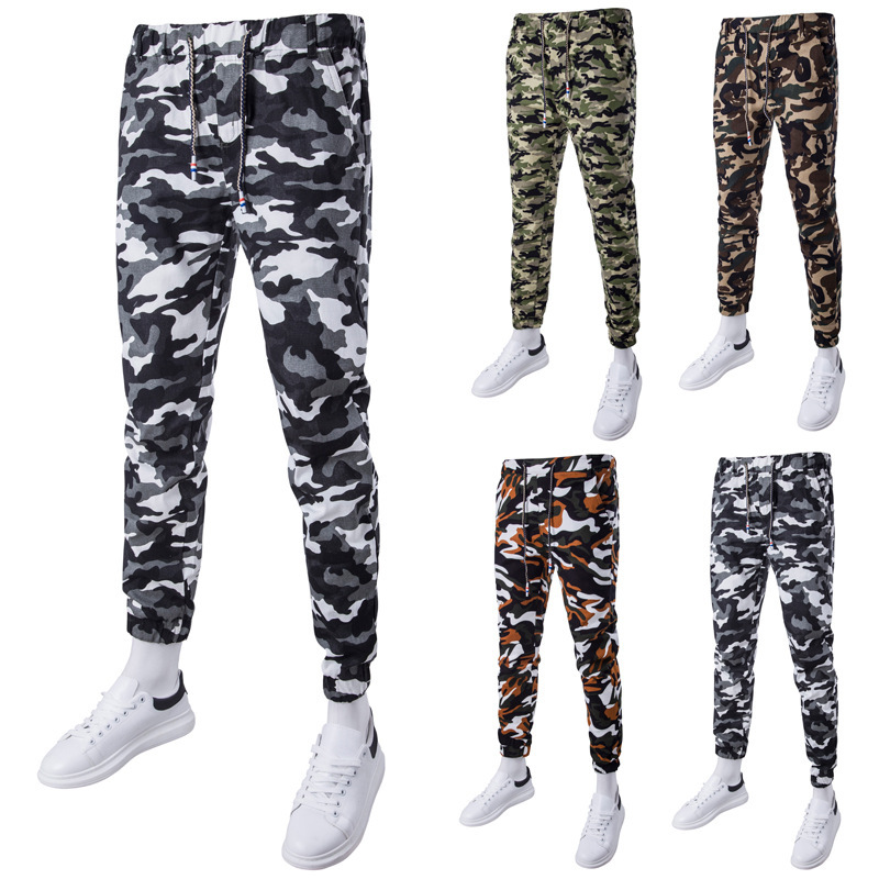 Low moq wholesale mens camouflage casual feet ankle banded trousers male Haren Metrosexual pants
