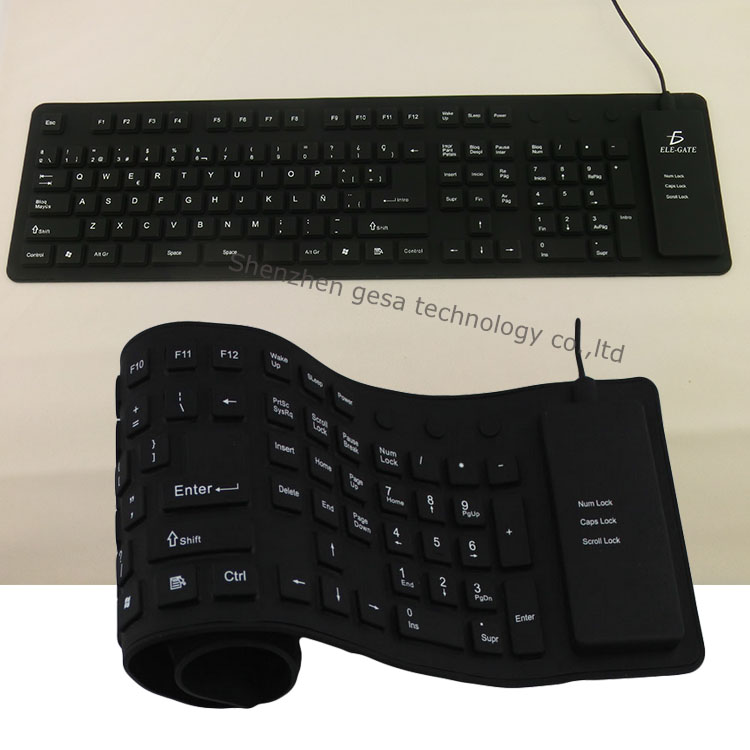 Mini ultra-thin Silicon material bluetooth wireless keyboard
