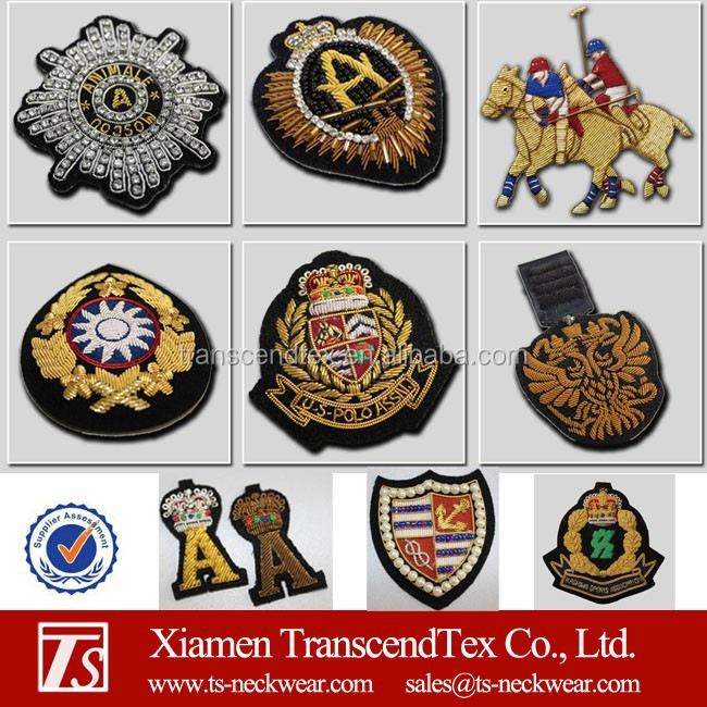 bullion wire embroidery badge fashion patches brand badges manufacturer