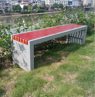 China wholesale waterproof outdoor park metal frame composite wooden bench seat