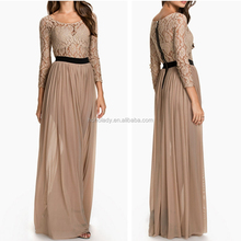 New arrivals chiffon evening dress with sleeves lace long evening dress