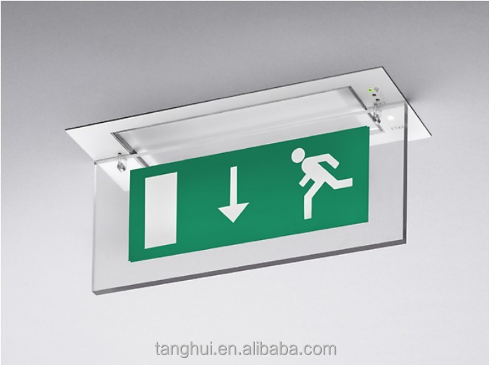 Good Performance Project Recessed Ceiling Mounted LED Emergency Exit Sign Light
