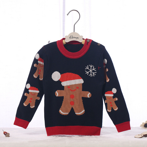 Wholesale baby Christmas sweater designs for kids hand knitted wool sweaters for children