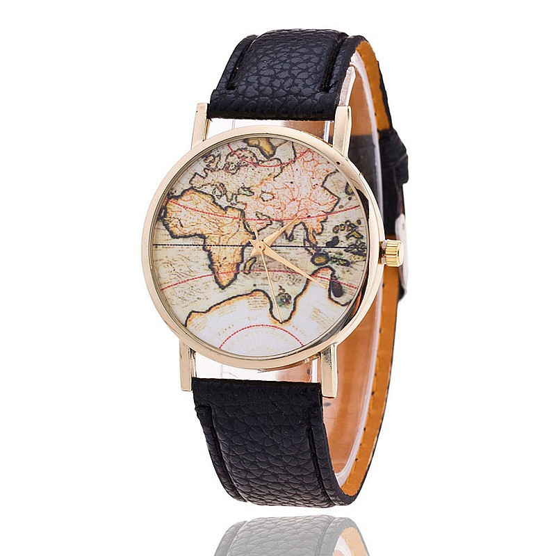 High Quality Soft Leather Strap Watches For Women Lady Retro Quartz Wristwatch Map Surface Watch Gift