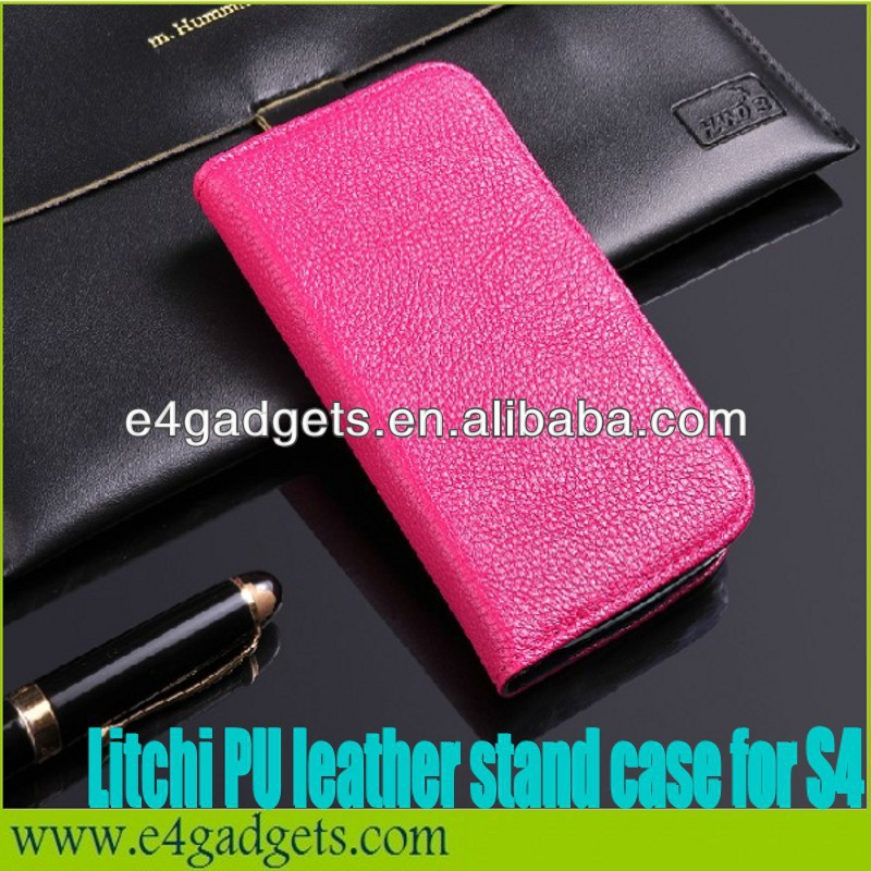 Factory new design Luxury Litchi vein PU Leather strong shockproof case for samsung galaxy s4