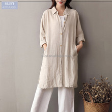 Turn-down Collar turkish women coats Casual loose Long Linen cotton coat long sleeve button up Beige ladies coat