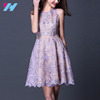 Purple Embroidery Cotton Silk A-Line New Ladies Casual Dress Patterns 2017