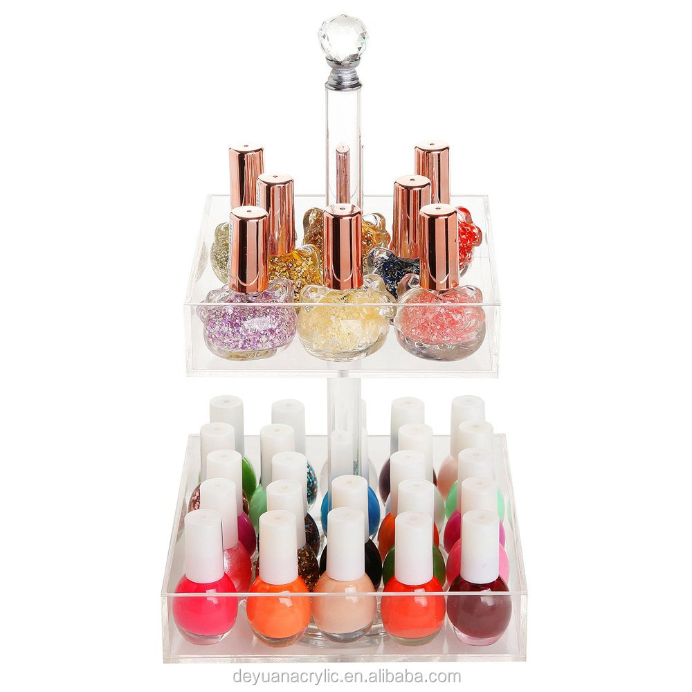 Acrylic / plexiglass cosmetic display stand design, makeup shelf for sales