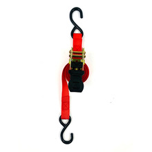 Red motorcycle car heavy duty S hook ratchet tie down strap