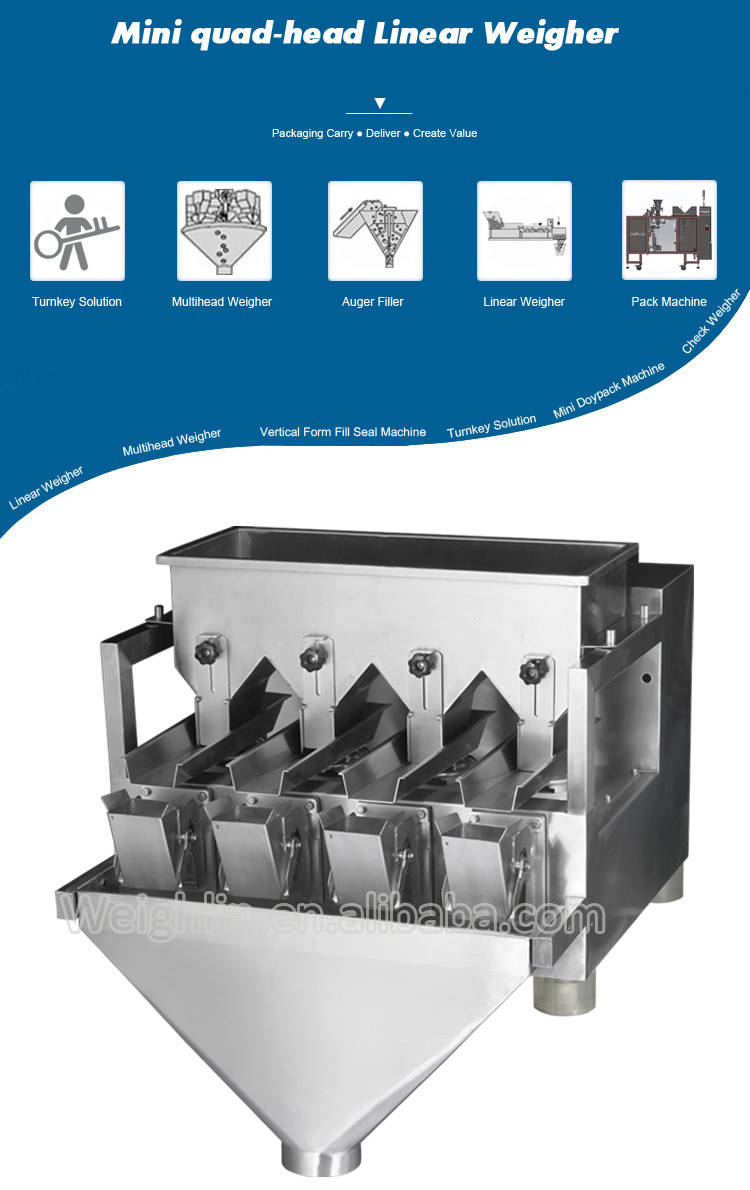 High precision filling machine with 4head linear weight scale for packing sauce flavoring