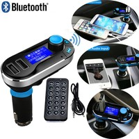 New Wireless Bluetooth Handsfree Car Kit FM Transmitter With Dual USB Charging function For Ihpone Cell Phone