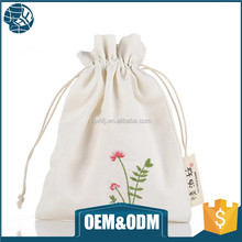 Cheap plain custom white packaging cotton drawstring dust bag for cosmetic jewelry