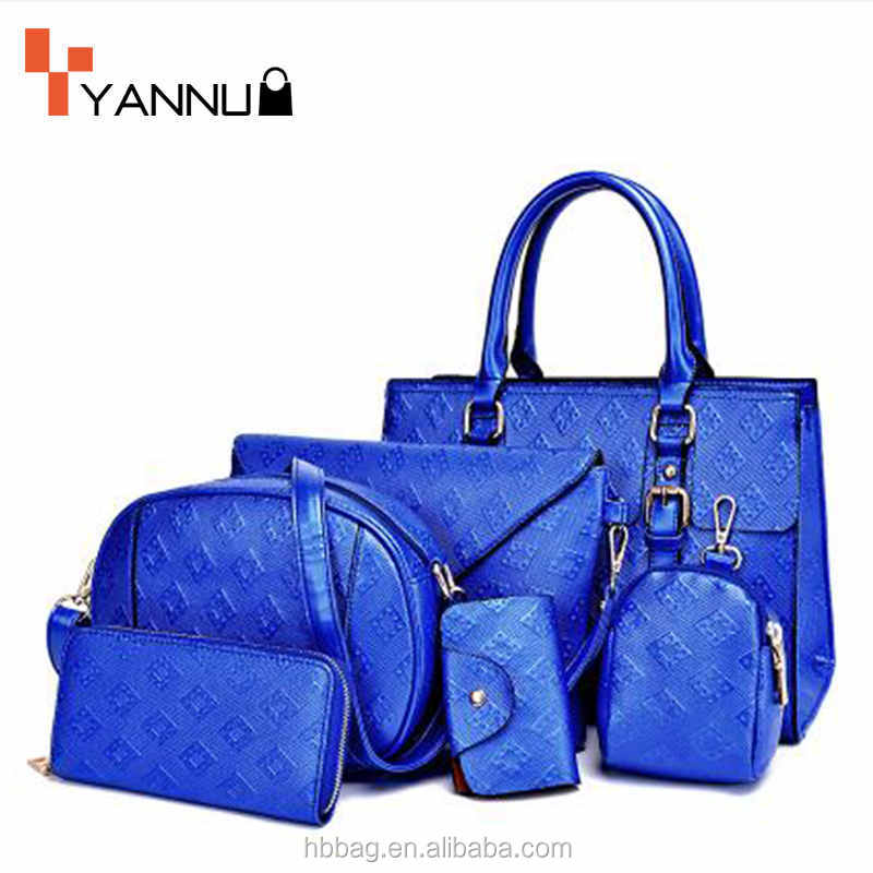 New design high quality PU leather lady handbag new style women set bag 6 in 1 set handbag
