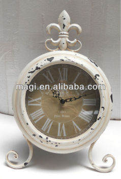 Decorative Cream Metal Antique Table Clock