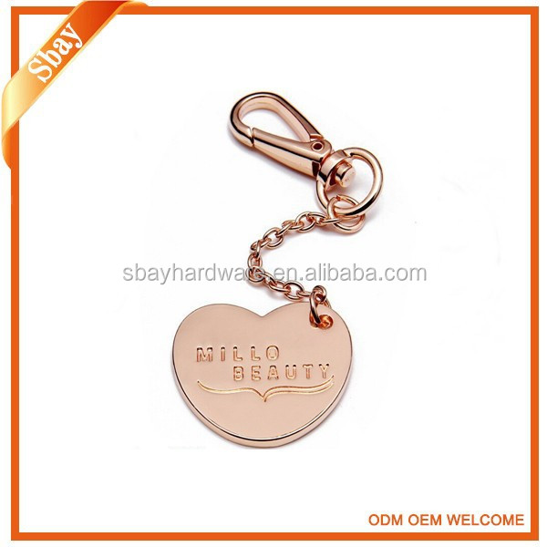 High quality rose gold custom made metal key chain with logo