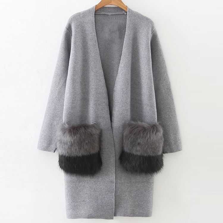 Wholesale Women Faux Fur Embellished Pocket Long Line Casual Cardigan Sweater